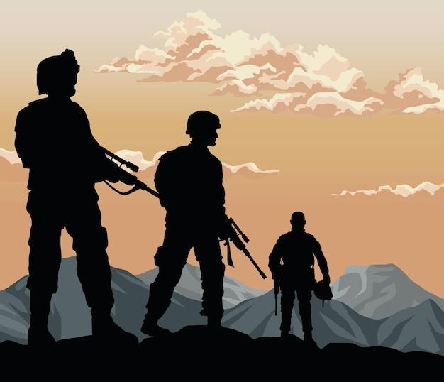Cena do pôr do sol de três soldados