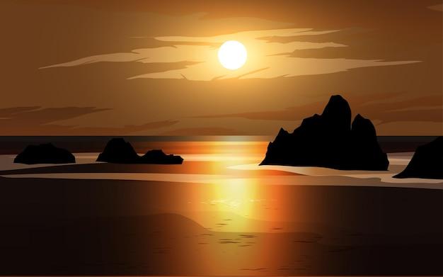 Cena do pôr do sol do mar com pedras e nuvens