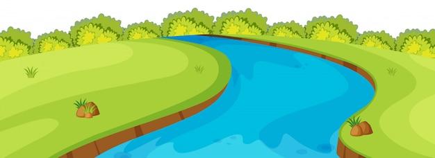 Cena do primeiro plano da natureza do rio