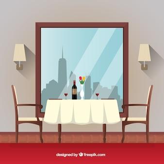 Cena do restaurante com uma mesa romântica
