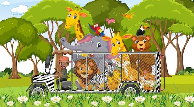Cena do zoológico com animais felizes no carro-gaiola