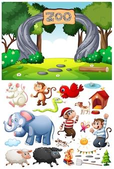 Cena do zoológico com personagem de desenho animado e objetos isolados