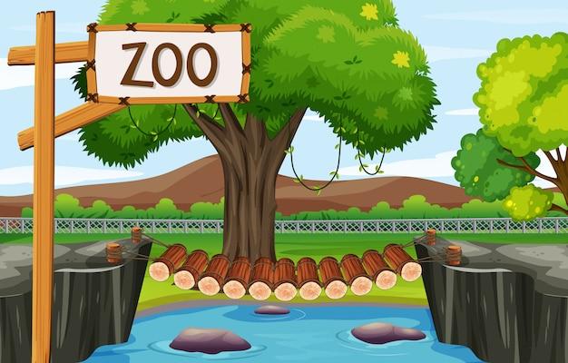 Cena do zoológico com ponte de madeira