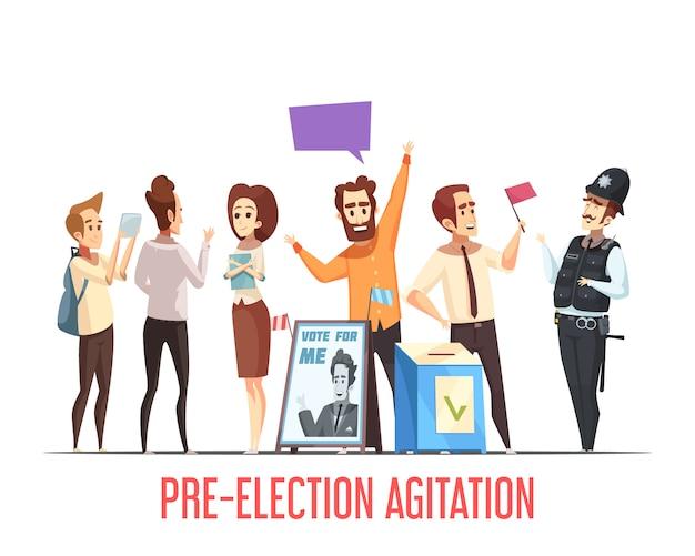 Cena dos desenhos animados da pré-eleição da política