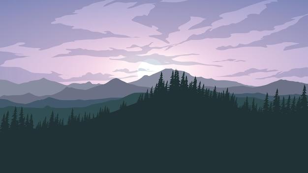 Cena dramática do nascer do sol com floresta e montanha