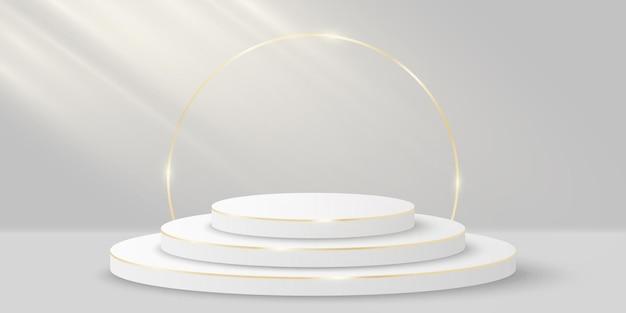 Cena elegante com efeito de luz para mostrar seu produto. cilindro 3d em fundo branco. plataforma luxuosa ou pódio mínimo vip. maquete para apresentação de moda. vetor
