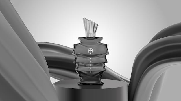 Cena elegante de pódio com lindo frasco de perfume de vidro