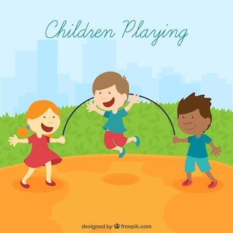 Cena engraçada de crianças brincando no design plano
