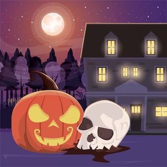 Cena escura de halloween com cabeça de caveira