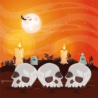 Cena escura de halloween com cabeças de caveiras