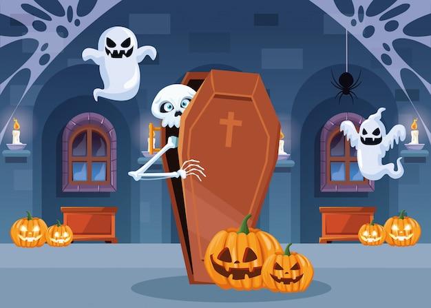 Cena escura de halloween com esqueleto no caixão