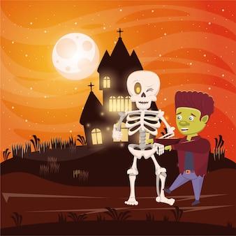 Cena escura de halloween com pessoa disfarçada de frankenstein