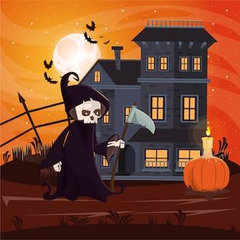 Cena escura de halloween com pessoa disfarçada de morte
