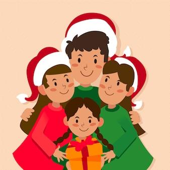 Cena familiar de natal em design plano