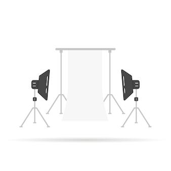 Cena fotográfica com softboxes. conceito de monolight, dslr, filme, guarda-sol, mídia, modelo de cinema, coleção octabox, hobby, show. estilo plano tendência logotipo moderno design gráfico ilustração vetorial