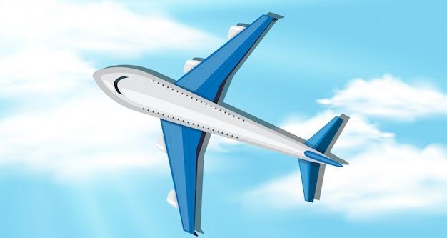 Cena fundo, com, céu azul, e, avião