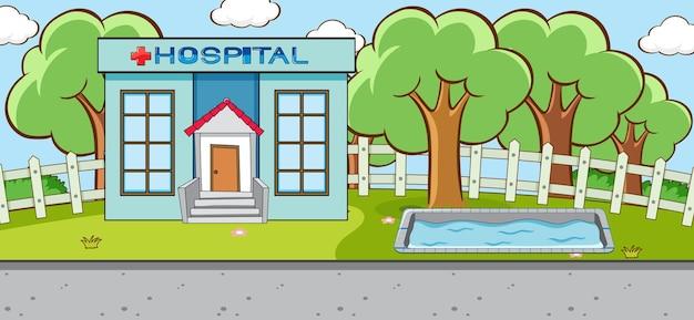 Cena horizontal com cena ao ar livre de construção de hospital