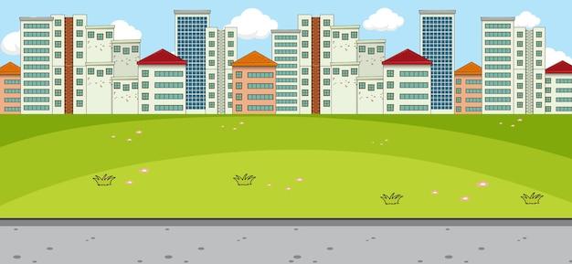 Cena horizontal com parque e paisagem urbana