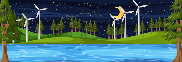 Cena horizontal da natureza à noite com muitas turbinas eólicas