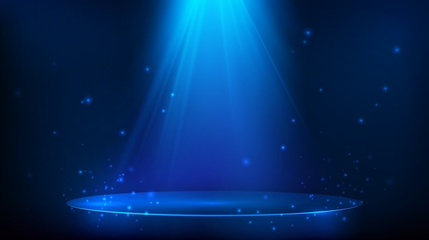 Cena iluminada com luz azul