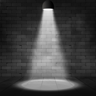 Cena iluminada holofotes e parede de tijolos. fundo de efeito de brilho. decoração de palco com lâmpada holofote