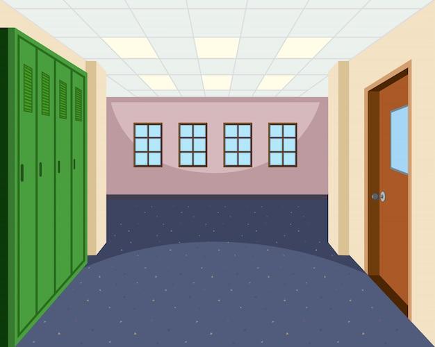 Cena interior do corredor da escola