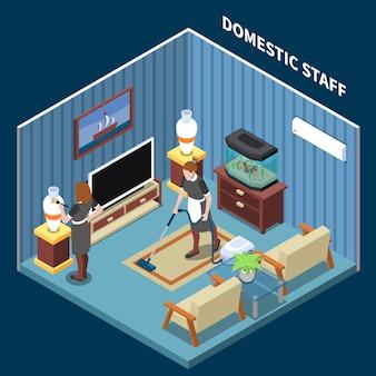 Cena isométrica de funcionários domésticos