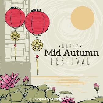 Cena linda, festival do meio do outono