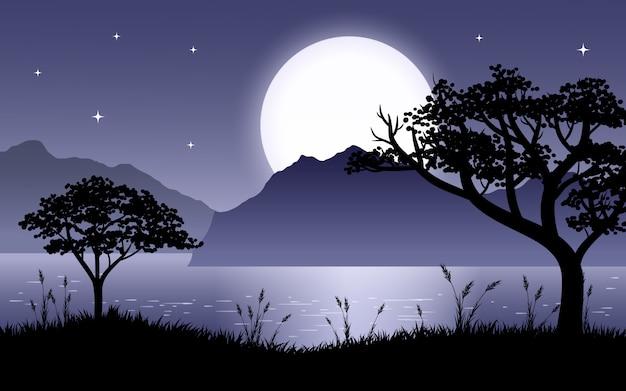 Cena linda noite no lago com silhueta de árvores