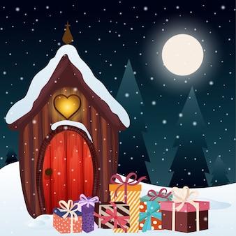 Cena mágica de natal com casa gnomo e presentes