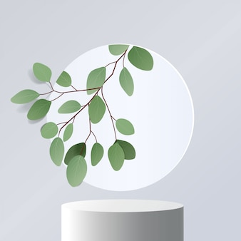 Cena mínima abstrata com formas geométricas. pódio de cilindro em fundo branco com folhas. apresentação do produto. pódio, pedestal de palco ou plataforma. 3d