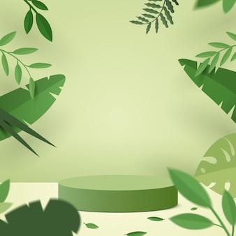 Cena mínima abstrata com formas geométricas. pódio de cilindro em fundo verde natureza com folhas de plantas verdes.
