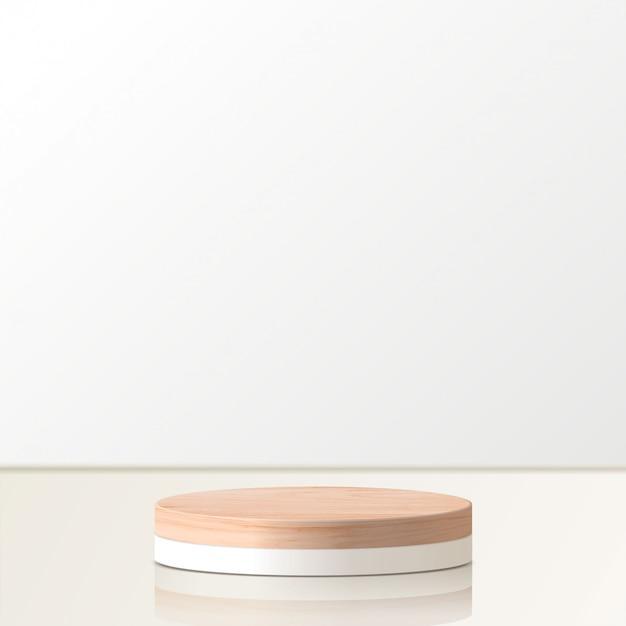 Cena mínima abstrata com formas geométricas. pódio de madeira do cilindro. apresentação do produto. pódio, pedestal de palco ou plataforma. 3d