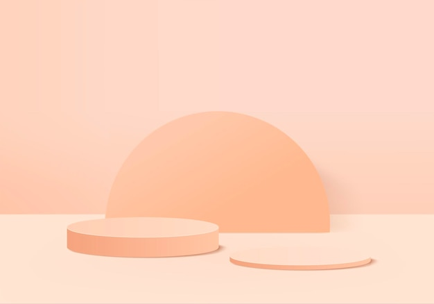 Cena mínima abstrata do cilindro com plataforma geométrica. fundo renderização 3d com pódio. vitrine de palco no pedestal moderno 3d estúdio laranja