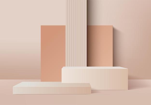 Cena mínima abstrata do cilindro com plataforma geométrica. renderização 3d de fundo de verão com pódio. estande para mostrar produtos cosméticos. vitrine de palco em pedestal moderno 3d studio bege pastel