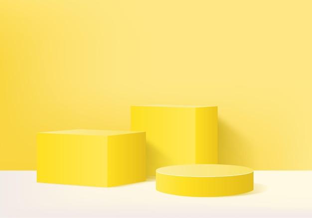 Cena mínima abstrata do cilindro com plataforma geométrica. vitrine do summer stage em pedestal moderno 3d estúdio amarelo pastel