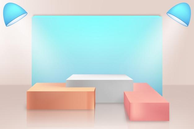 Cena mínima com fundo de pódios de formas geométricas. cena para mostrar produto cosmético