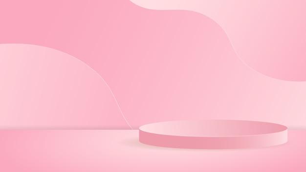 Cena mínima com pódio de cilindro de formas geométricas em rosa