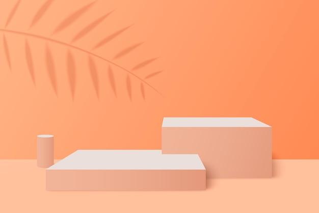 Cena mínima com pódios cilíndricos de formas geométricas em fundo creme com folhas de papel na coluna