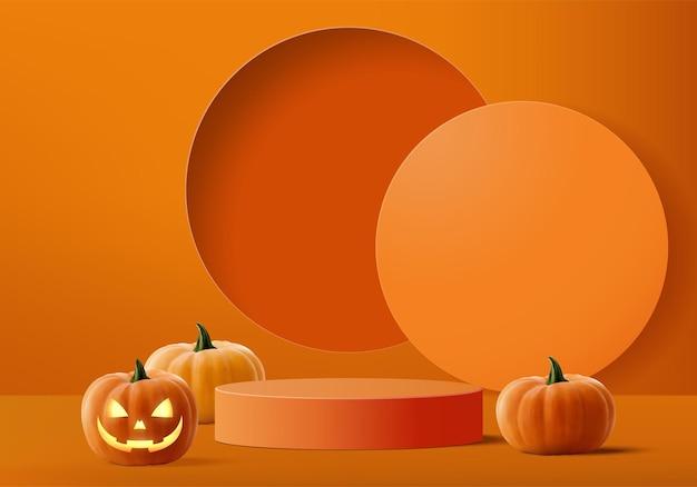 Cena mínima de halloween 3d com plataforma de fumaça e pódio. halloween background vector renderização 3d com pódio de abóbora. estande para mostrar produtos. vitrine de palco em pedestal moderno laranja pastel de abóbora