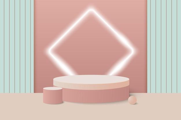 Cena mínima de pódio 3d com fundo de produto geométrico