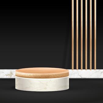 Cena mínima do pódio de bambu com formas geométricas. pódio cilíndrico de bambu ou plataforma de mármore branco.
