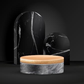 Cena mínima do pódio de bambu com formas geométricas. pódio de cilindro de bambu ou plataforma de mármore preto.