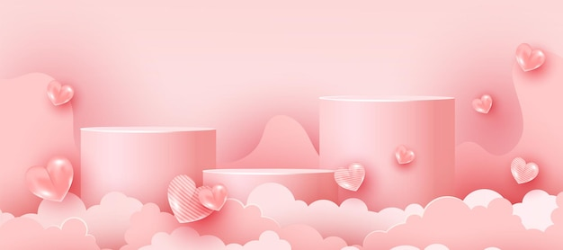 Cena mínima rosa suave abstrata com formas geométricas. dia dos namorados formas em 3d de coração e nuvens de papel