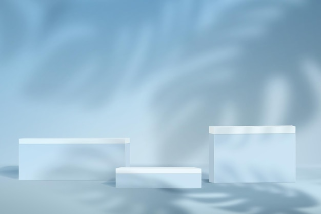 Cena minimalista abstrata em tons pastel de azuis. maquete de plano de fundo para demonstração de produto com monstros de sombras.