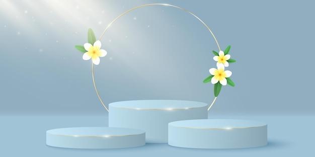 Cena minimalista elegante e círculo de ouro com flores de plumeria. palco 3d ou pódio. efeito do feixe de luz. Vetor Premium