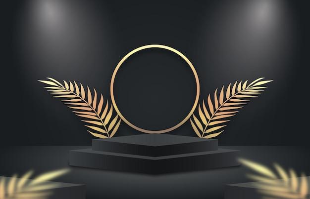Cena minimalista em preto e dourado com formas geométricas e folhas de palmeira elegantes e luxuosas exibições de produtos