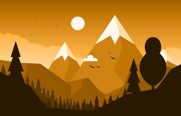 Cena montanha floresta calma simples natureza selvagem paisagem ilustração monocromática