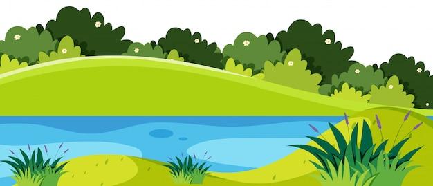 Cena natureza com lagoa