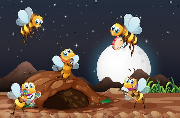 Cena noturna com abelhas voando no jardim
